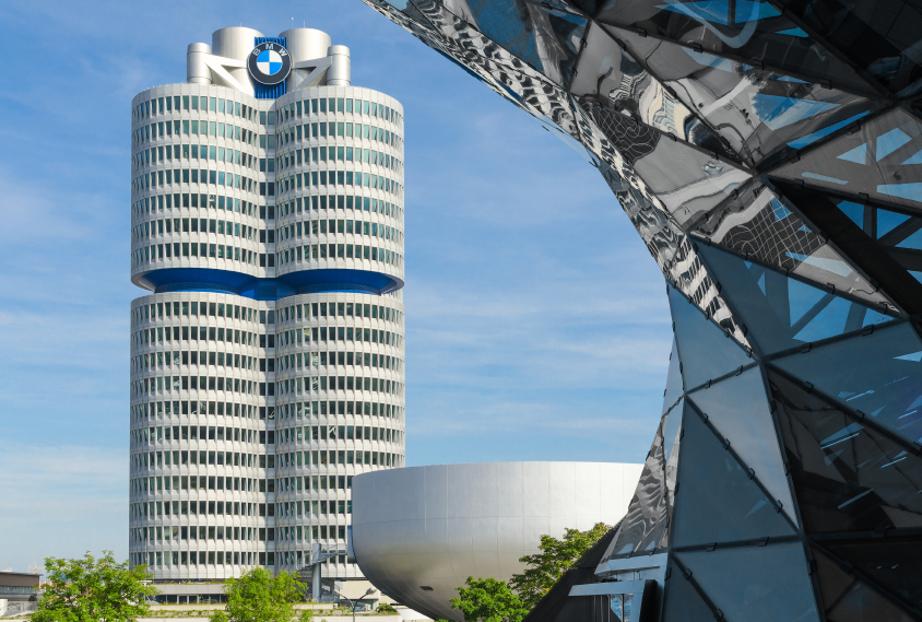 BMW four-cylinder tower Munich world headquarters for Bavarian a