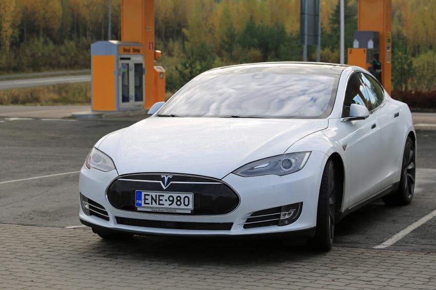 White Tesla Model S Electric Car