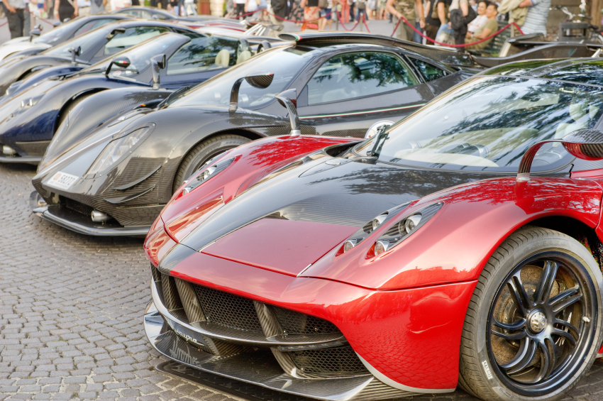 A line-up of Huayra supercars on display in an Italian piazza in 2014.