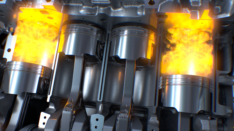 Pistons move very rapidly in their cylinders to power the vehicle