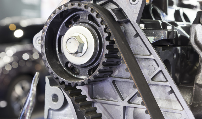 A timing belt is made from rubber