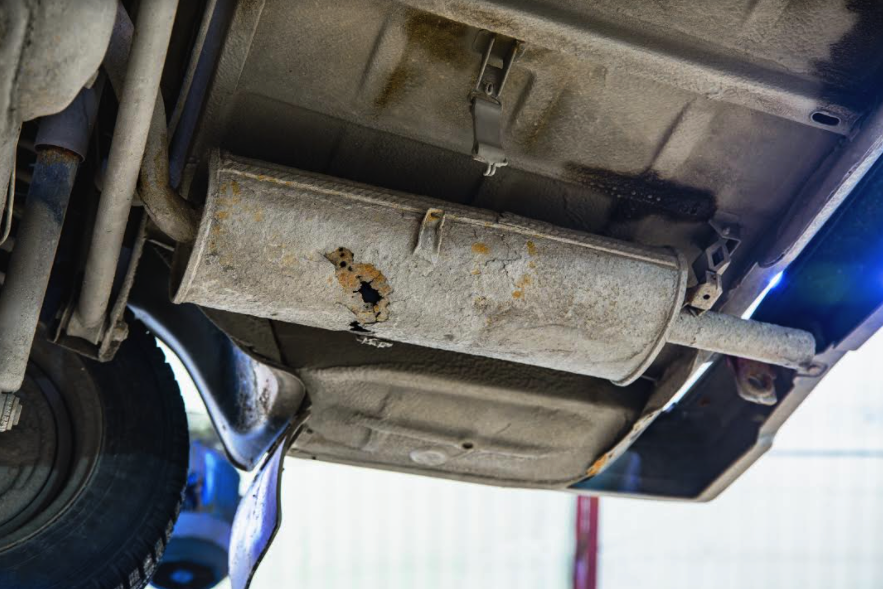 Poor driving performance can also come as a result of holes in the muffler