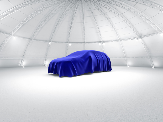 Clean white warehouse dome exhibition space car stage car launch, under Blue fabric reveal 3d illustration