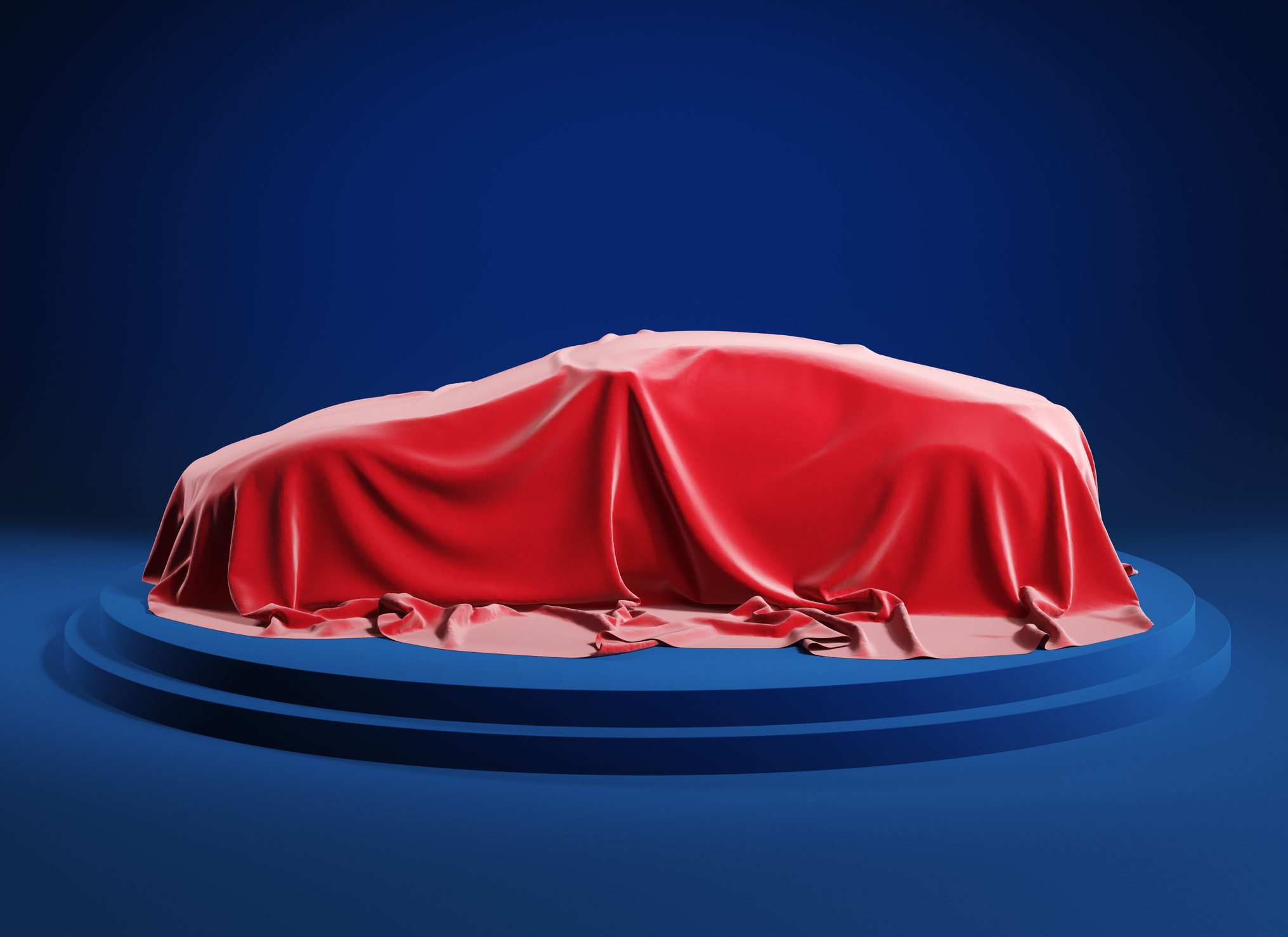 Car on the podium covered with a red satin cloth before presentation. Clipping path incluted. 3d illustration